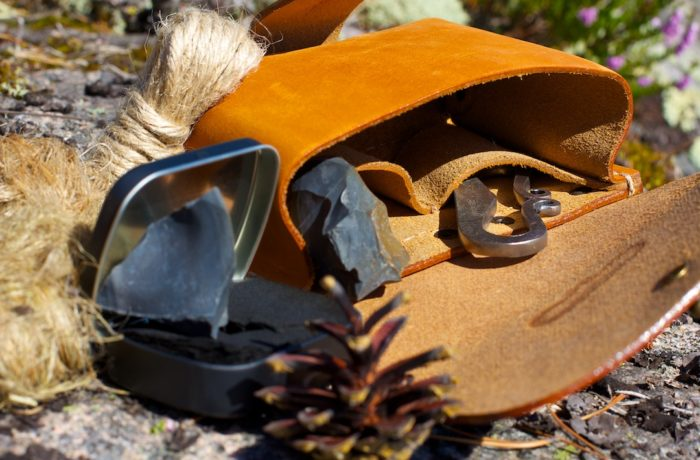 Flint and steel ready-to-use campfire kit