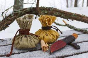 Primitive fire kit in linen pouch