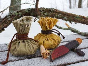 Primitive fire kit in linen pouch